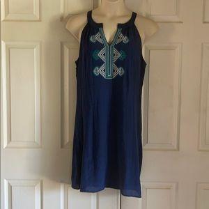 Luxology Blue Embroidered Sleeveless Dress